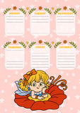 School timetable for children with days of week. Fairy girl Stock Photos