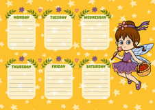 School timetable for children with days of week. Fairy girl Royalty Free Stock Photography
