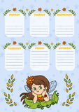 School timetable for children with days of week. Fairy girl Royalty Free Stock Image