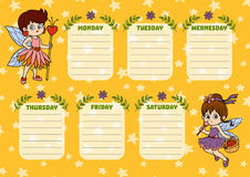 School timetable for children with days of week. Fairy girls Stock Photo