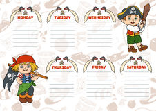School timetable for children with days of week. Pirates. School timetable for children with days of week. Color characters of cartoon pirates vector illustration