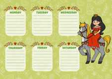 School timetable for children with days of week. Princess. School timetable for children with days of week. Color cartoon princess on horseback vector illustration