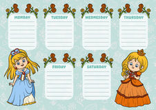 School timetable for children with days of week. Princess. School timetable for children with days of week. Color characters of cartoon princesses royalty free illustration