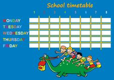 School timetable, dinosaur. Timetable for children. Dinosaur with children and briefcases Stock Photography