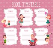 School timetable. Education diary for pupil stock illustration