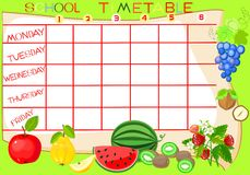 School timetable with fruit Stock Image