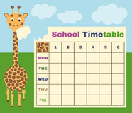 School timetable with giraffe Royalty Free Stock Photos