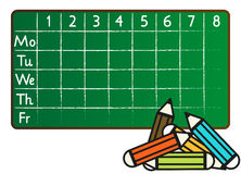 School timetable in greenboard (blackboard) style Stock Photos