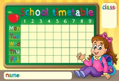 School timetable with happy girl Royalty Free Stock Photography