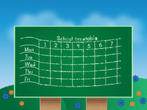 School timetable. Illustration of green school timetable Stock Photo