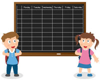 School Timetable with Kids. Two school kids with timetable on blackboard. Eps file available Royalty Free Stock Images