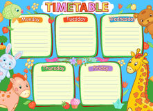 School timetable kids baby child animals kindergarden illustration. Royalty Free Stock Photos