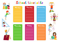 School timetable, kids weekly schedule vector. School timetable, weekly schedule for students cartoon vector illustration Stock Photos