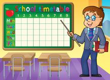 School timetable with man teacher Royalty Free Stock Photos