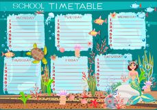 School timetable with mermaid Stock Photography