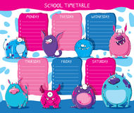 School timetable monsters Royalty Free Stock Image