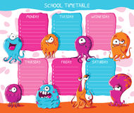School timetable monsters. Vector illustration Stock Photography
