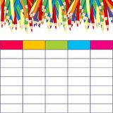 School timetable with multicolored pencils Stock Photos