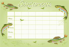 School timetable with rainbow trout vector Royalty Free Stock Photos