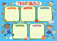 School timetable schedule, colorful vector illustration. Stock Photo