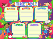 School timetable schedule, colorful vector illustration. Royalty Free Stock Photo