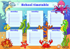 School timetable with sea animals Royalty Free Stock Image