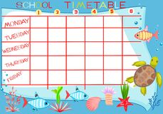 School timetable Royalty Free Stock Image
