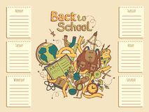 School timetable Sketch colored illustration Stock Images