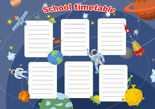 School timetable with space design. Lesson plans all week. Planets and rockets, astronauts and UFO. Royalty Free Stock Images