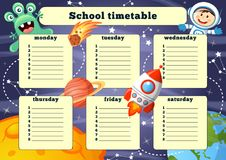 School timetable with space elements stock illustration