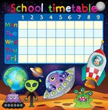 School timetable space fantasy theme Royalty Free Stock Photography