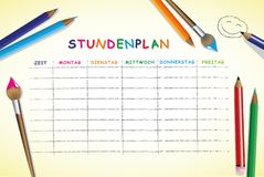 School timetable for students or pupils with days of week and free spaces for notes stock illustration