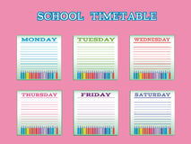 School timetable for students or pupils with days of week Stock Photography