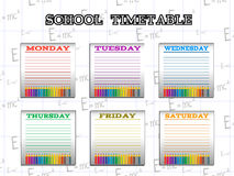 School timetable for students or pupils with days of week Royalty Free Stock Images