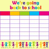 School timetable with stylized kids Stock Images