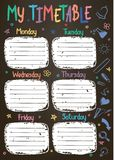 School timetable template on chalk board with hand written colored chalk text. Royalty Free Stock Photo