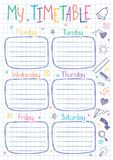 School timetable template on copy book sheet with hand written text. Weekly lessons shedule in sketchy style decorated with hand drawn school doodles vector illustration