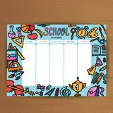 School timetable template. Pupil schedule with school supplies . Lesson plans all week. Education background - alarm clock,. Backpack, stationery hand drawn vector illustration