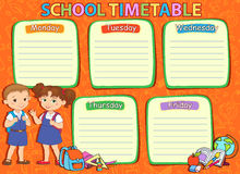 School timetable thematic image vector illustration. Royalty Free Stock Photo