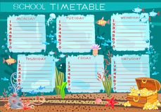 School timetable. With treasure Chest Stock Images
