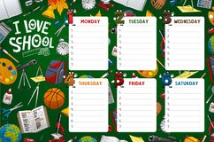 School timetable week schedule, classes supplies. School timetable, week schedule and student classes table weekly template. Vector school timetable with classes vector illustration