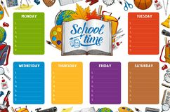 School timetable week schedule, color notes. School timetable, week schedule and student classes weekly table on color notes. Vector school timetable with study stock illustration