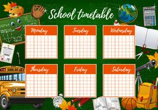 School timetable week schedule, study supplies. School timetable on green chalkboard, student classes week schedule checkered paper. Vector school timetable in royalty free illustration