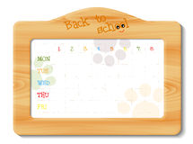 School timetable in wooden frame Royalty Free Stock Photo