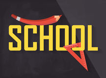 School title symbol with a crayon and a ruler Stock Photo