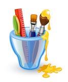 School tools. Pen, brush, ruler in the glass Stock Image