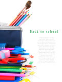 School tools and accessories on white background. Royalty Free Stock Images