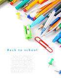 School tools and accessories on white background. Royalty Free Stock Photography