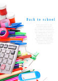 School tools and accessories on white background. Royalty Free Stock Photo