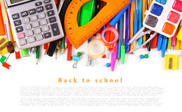 School tools and accessories on white background. Stock Photography